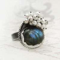 Labradorite inside the pearl fluff - ring IV by AnnaMroczek