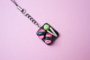 Mini Sushi Tray Phone Charm by theaquallama