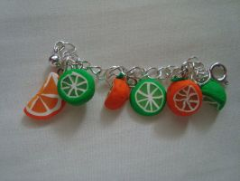 Lime and Orange Fruit Charms by knuxnbats