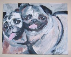 pugs canvas painting by JillyFoo