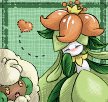 Lilligant and Whimsicott by Lady-Leaf