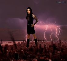 Goddess Awaken - Sharon den Adel giantess by ZituKX