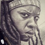 Akumuink-sketch-michonne-walkingdead by akumuink