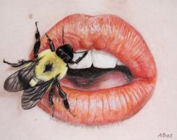Bee on lips by AbatArt