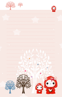Kawaii red hood bunnies - stationery by tho-be