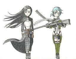 Kirito and Sinon (color) by Hahc3Shadow