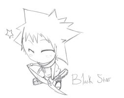 Black Star Chibi- blk and wht by chissyrulez94