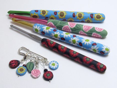 Floral Crochet Hooks and Stitch Markers by noellewis