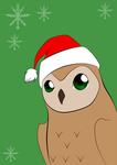 Owl in a Santa Hat by selftaughtartist1