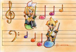 Comisssion-  Kagamine Twins by Drunny