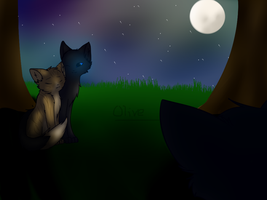Crowfeather and Leafpool by ghost--scarves