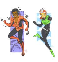 Sunspot and Rogue by mitchatt