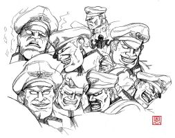 Street Fighter V - Bison / Vega doodlesheet by Shadaloo1989