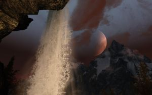 Nightime Waterfall at Broken Helm Hollow by Euther