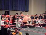 Steen: Powerbombing Generico to the apron by KnightNephrite