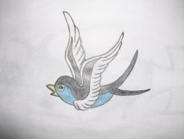 Blue bird tattoo concept by kaosu666