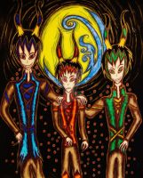 The satyr triplets the Woxwell brothers by Twilightsoma