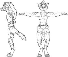 Female Gnoll Profile-Line Art by PyroTeamkill