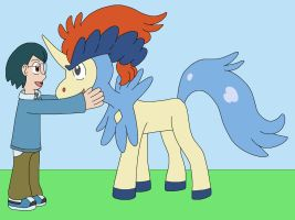 Max make friend with Legendary Keldeo by MCsaurus