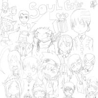 Soul Eater outline drawing with all main character by ganzato1000