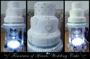 Fountain of Hearts Wedding Cake by Perry-the-Platypus