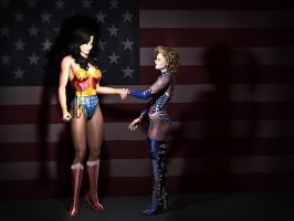 Mutual Respect - Patriotic Heroines Meet at Last by MollyFootman