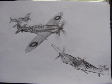 Spitfire vs. Messerschmitt Bf 109 by Billionairere