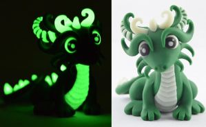 dark green glow in dark dragon by claymeeples