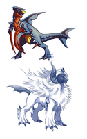 Mega Garchomp and Mega Absol by ShadeofShinon