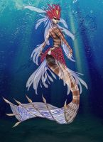 Nami, the Tidecaller, Red Lionfish Mermaid- WIP3 by Noctume