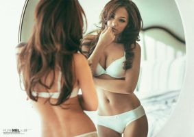 Pure Mel: Melanie Iglesias Reflection in Mirror by NickSaglimbeni