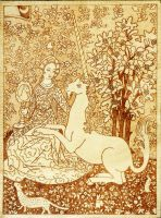 Lady of the Unicorn woodburned pyrography plaque by YANKA-arts-n-crafts