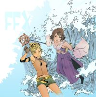 FFX Rikku and Yuna - colour by TeamSmithy