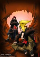 Deidara and Sasori +Colored+ by JPetrakis