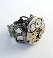 Steampunk Adjustable Ring 2 by Create-A-Pendant