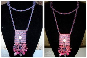 Beaded Pouch Pink and Purple 2 by kuroitenshi13