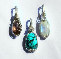 Sterling Silver Wire-wrap Experiments by BumbleBeeFairy