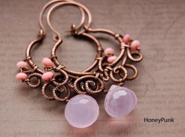 Earrings wire wrap copper with rose quartz by honeypunk