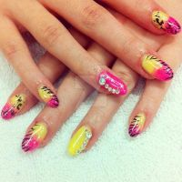 Pink Lemonade Animal Print Gel Nails by KizunaniiNails