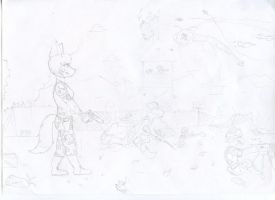 Dog Wars -pencil drawing- by RikuBlindFox