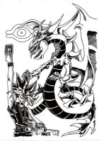 Yugi and Slifer The Sky Dragon by StEML