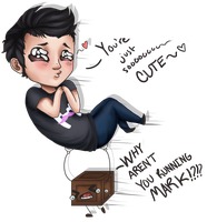 Markiplier and Tiny Box Tim by Gelidwolf