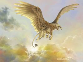 Griphon in Flight by giovannag