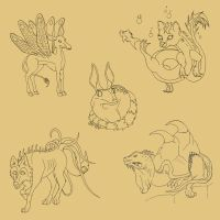 Creature Concepts Lineart by Amber-ly