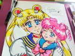 sailor moon and chibi chibi by queencastilla