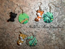 Jungle Animals Earrings Polymer Clay by Nakihra