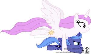 Princess Celestia Takes Princess Luna Flying by 90Sigma