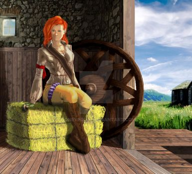 Woman sitting on hay by Honeypown