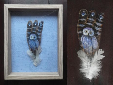 Gift - small owl on small feathers by queenofeagles