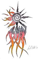 Tribal Sun with Flames by Asenath-Nightroad